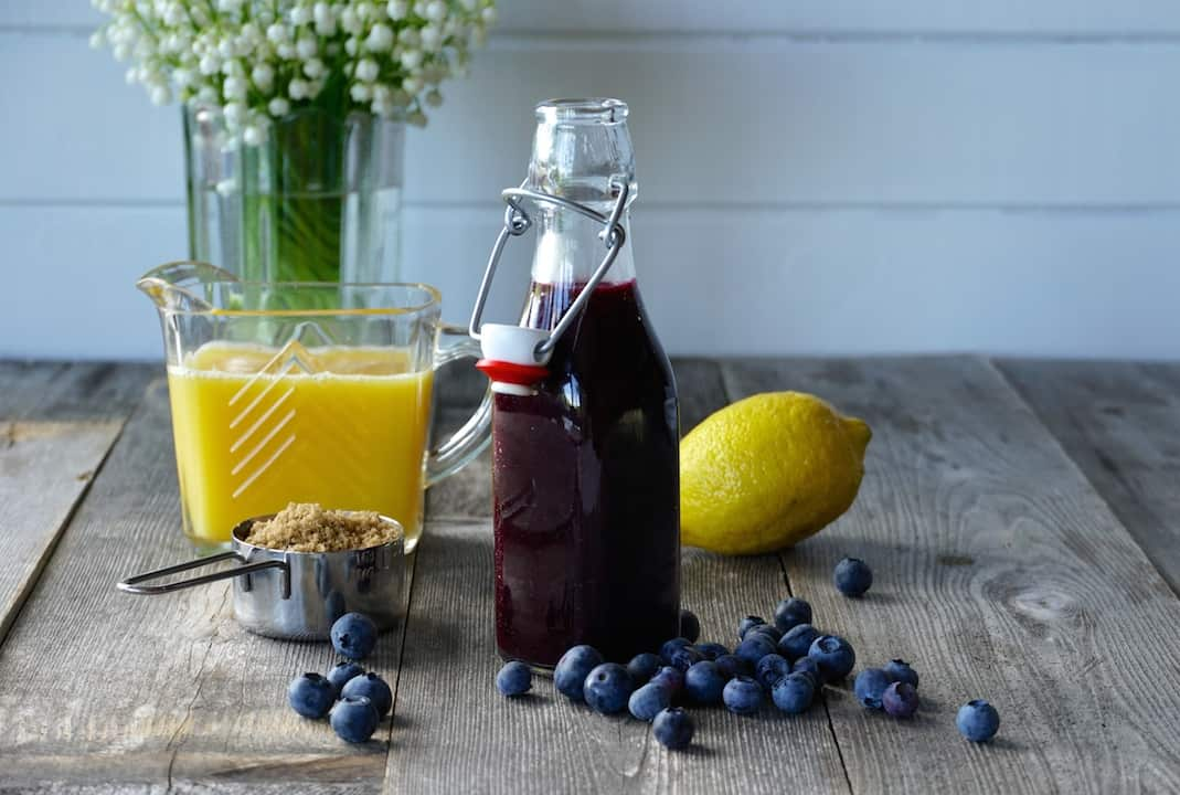 We made this Blueberry Orange syrup to go with these pancakes