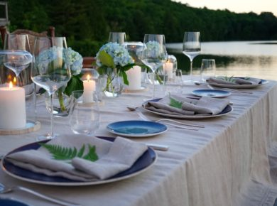 Sun setting on the perfect outdoor dining expereince