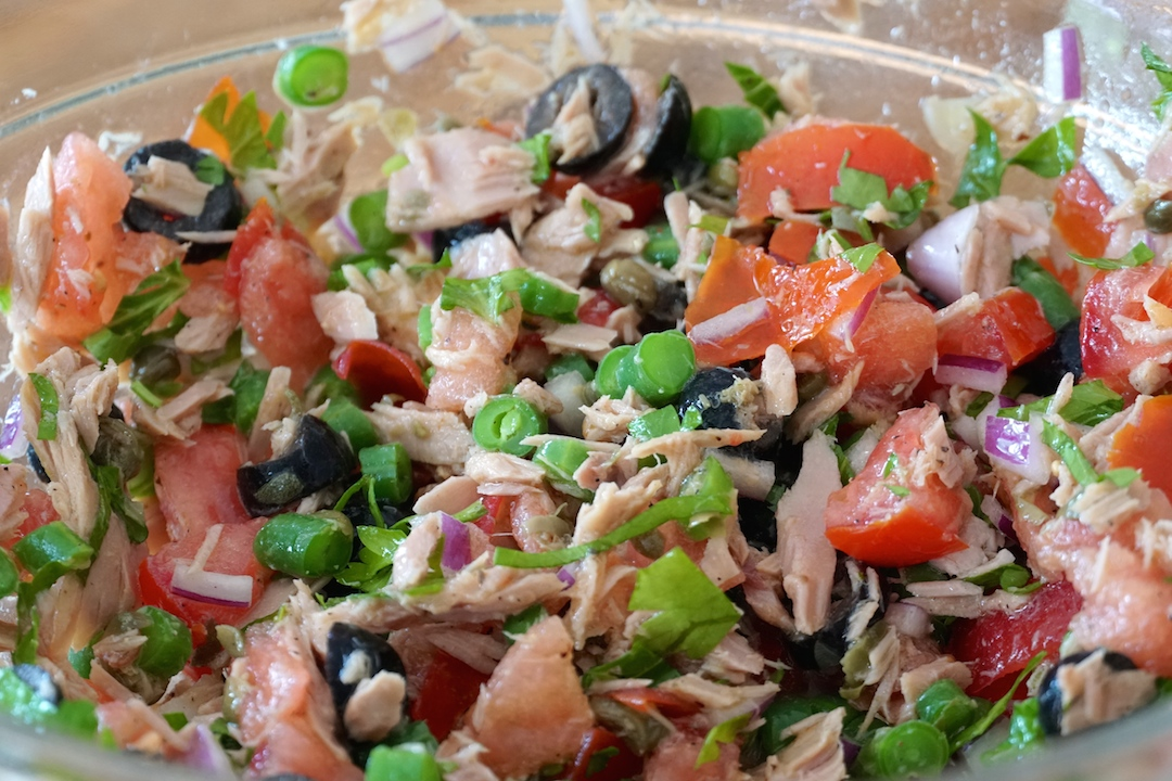 The colourful tuna salad ready to be added to the sandwiches