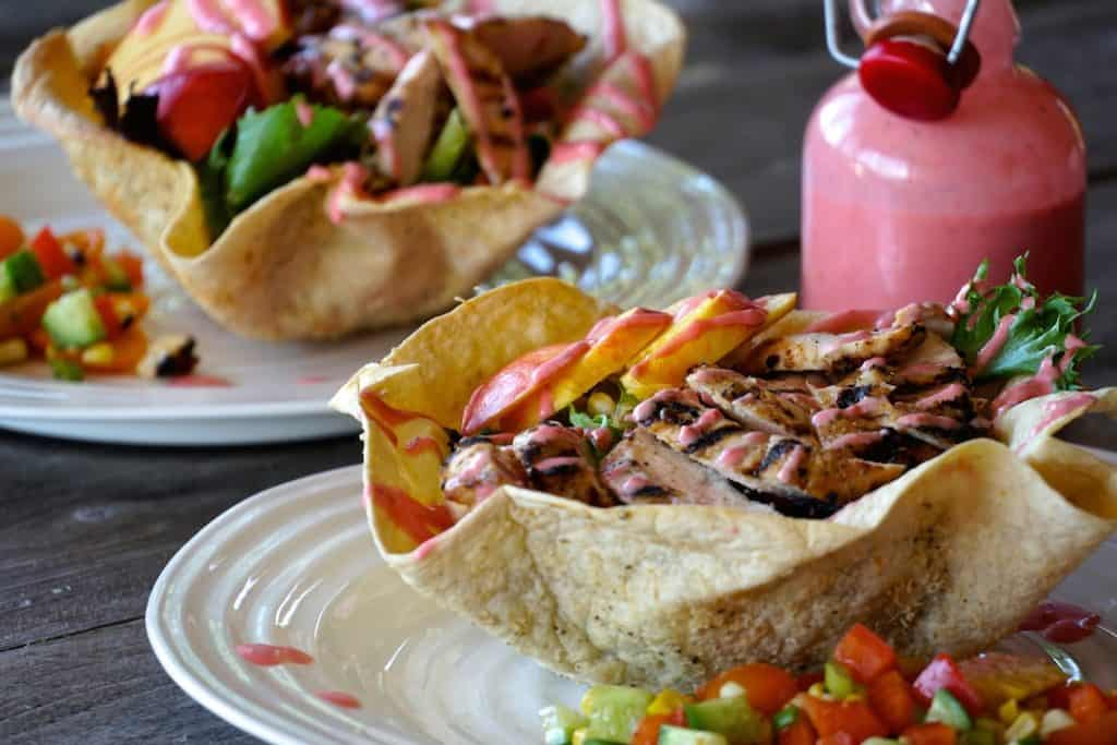 Tortilla Bowl Salad ready to be served