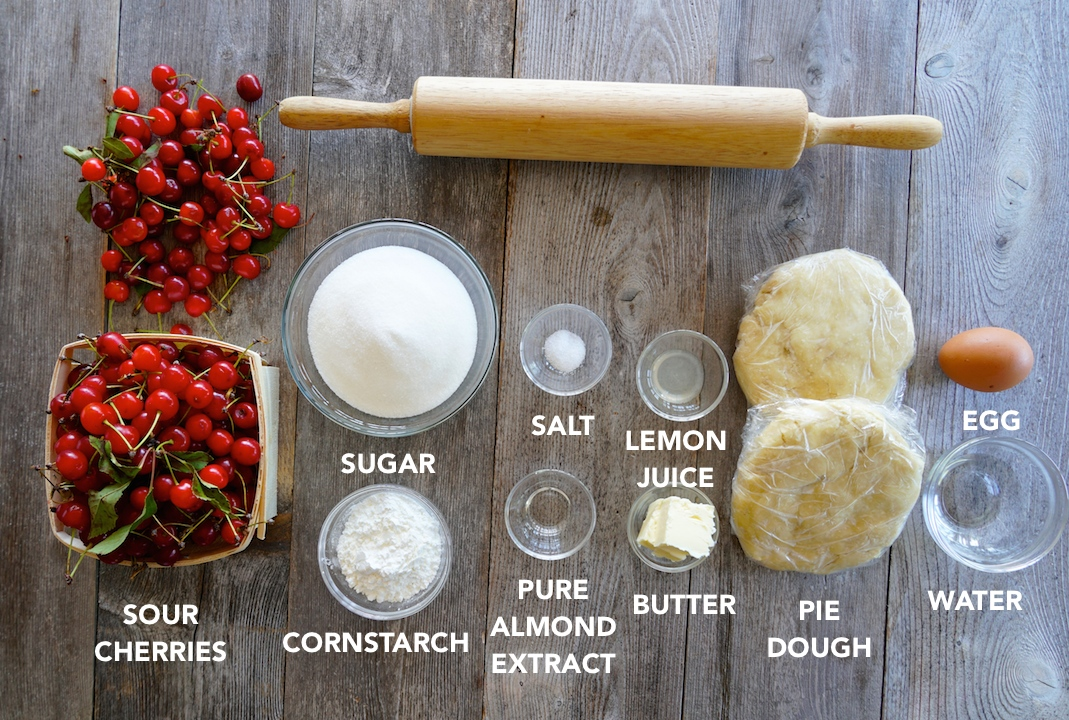 Ingredients for the Sour Cherry Pie