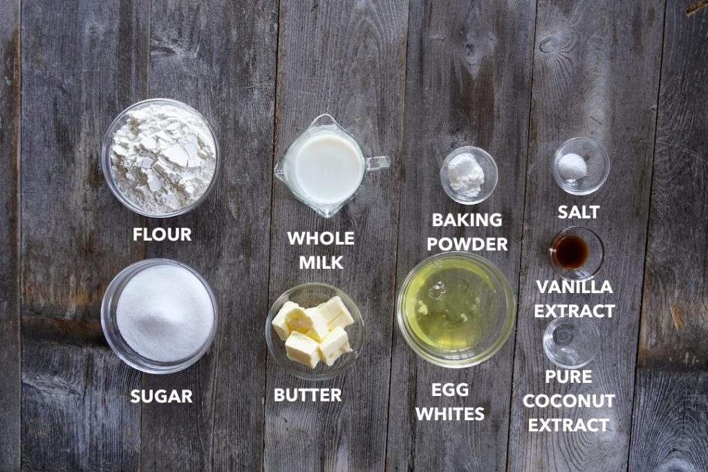 Ingredients for Homemade Coconut Cake