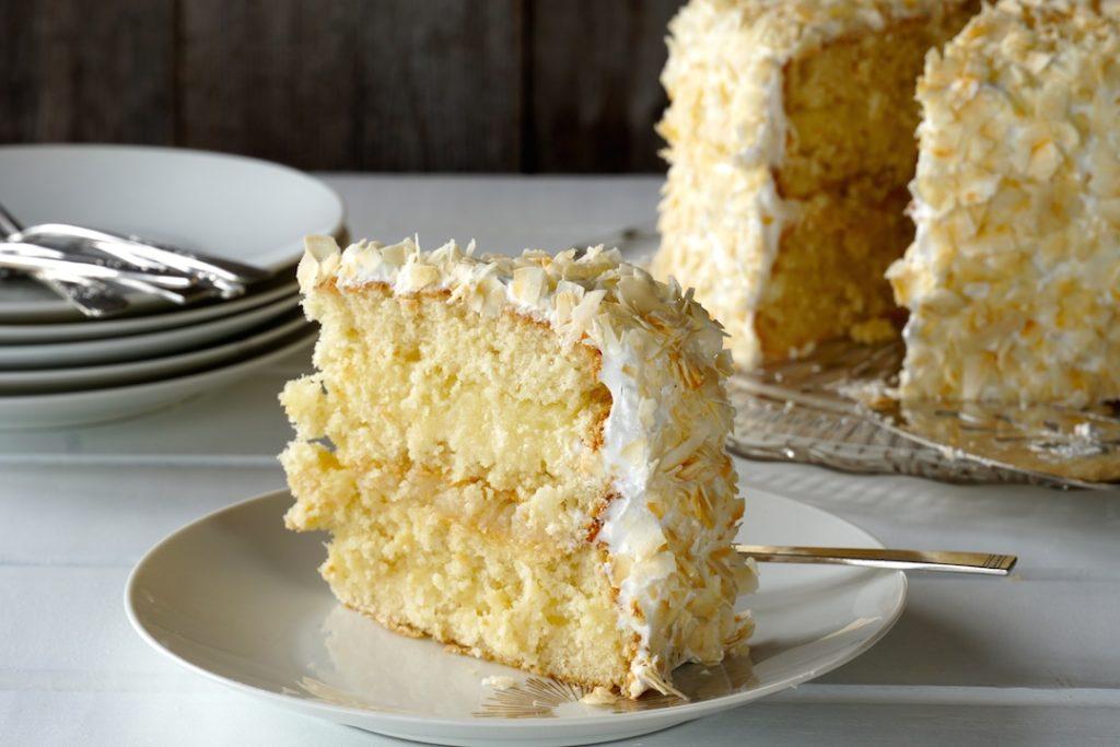 A slice of Homemade Coconut Cake