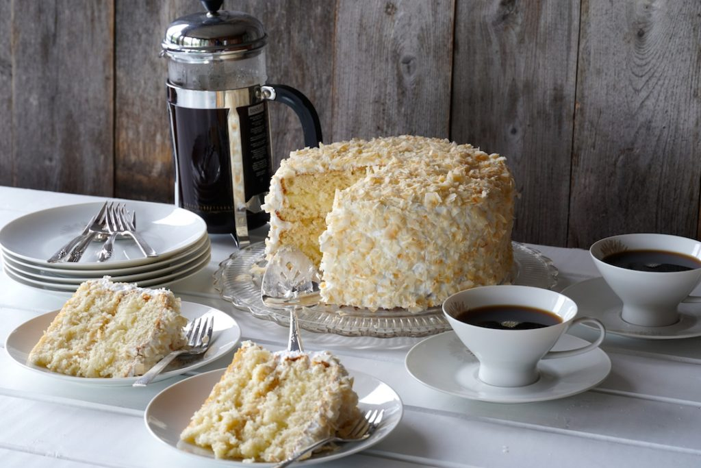 Slices of Homemade Coconut Cake ready to be served