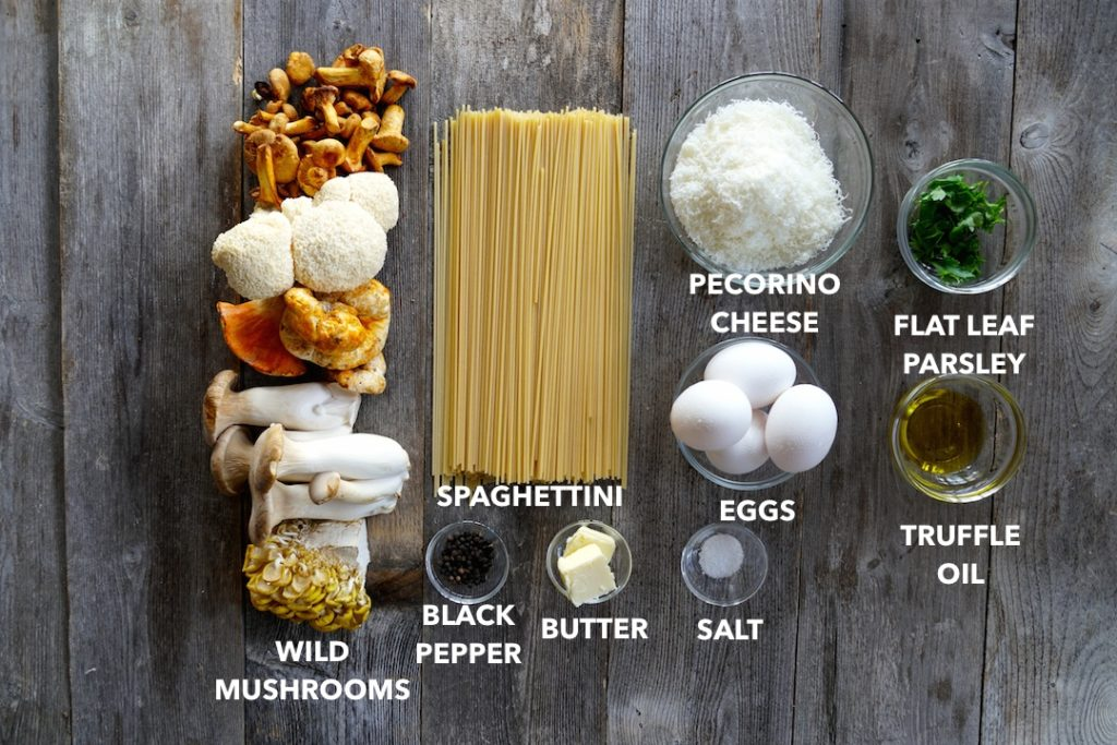 Ingredients for Mushroom Carbonara