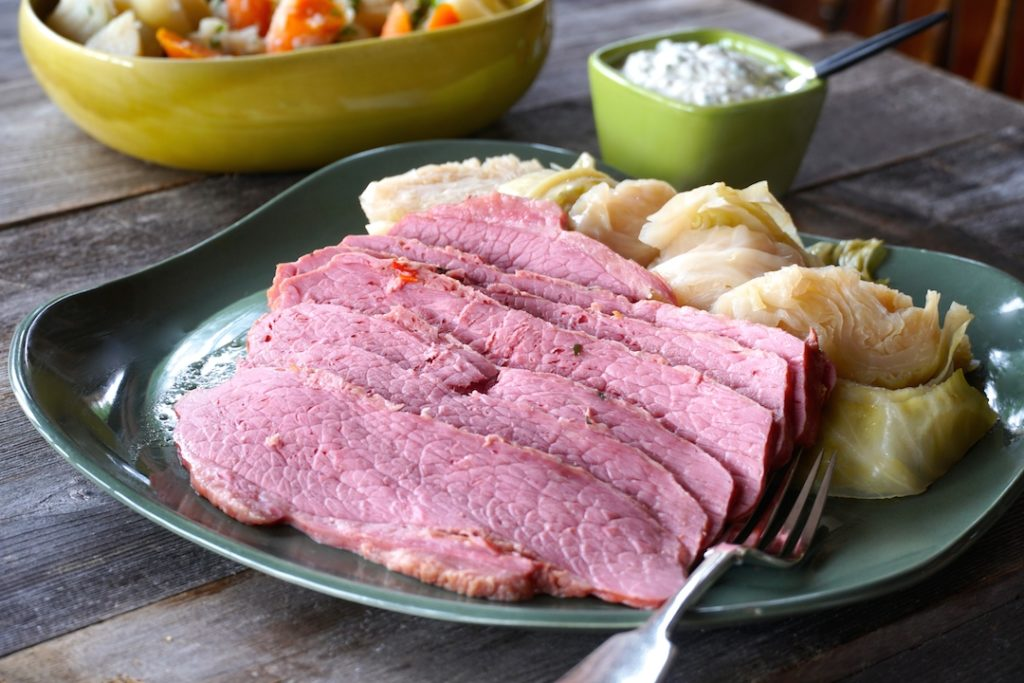 Corned Beef and Cabbage served on a large platter