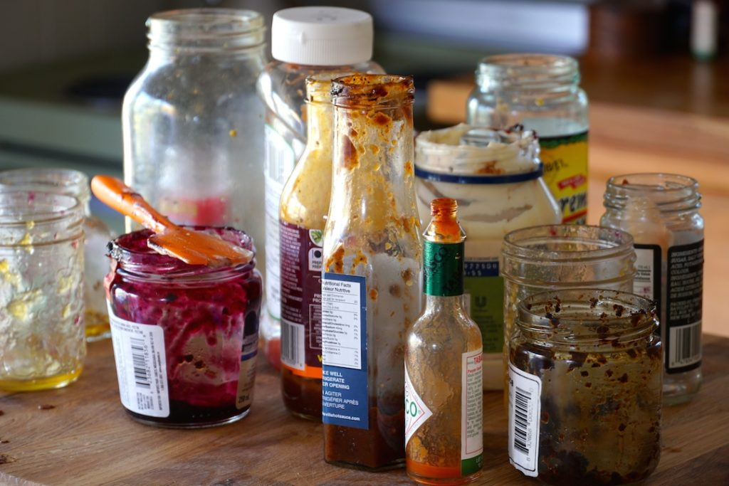 Condiment jars ready to be recycled