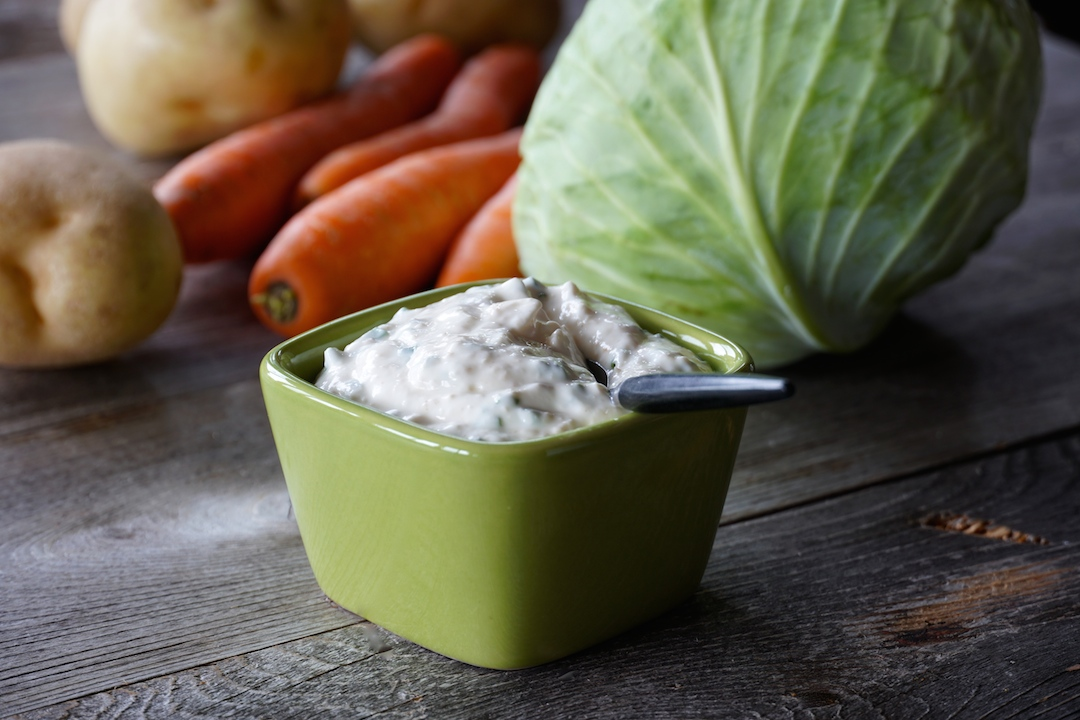 Creamy horseradish is the perfect accompaniment for the corned beef