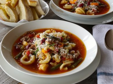 Hearty Minestrone Soup made with beef