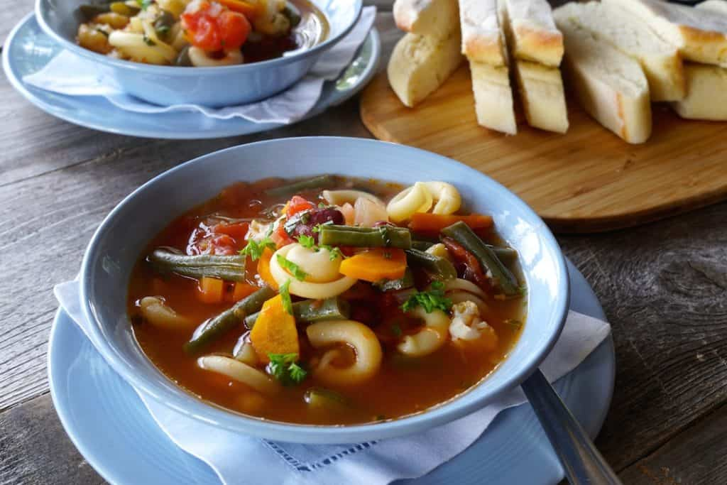 A bowl of our vegetarian Hearty Minestrone Soup