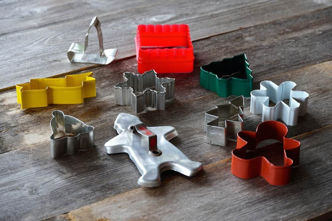Assorted holiday and geometric shaped cookie cutters
