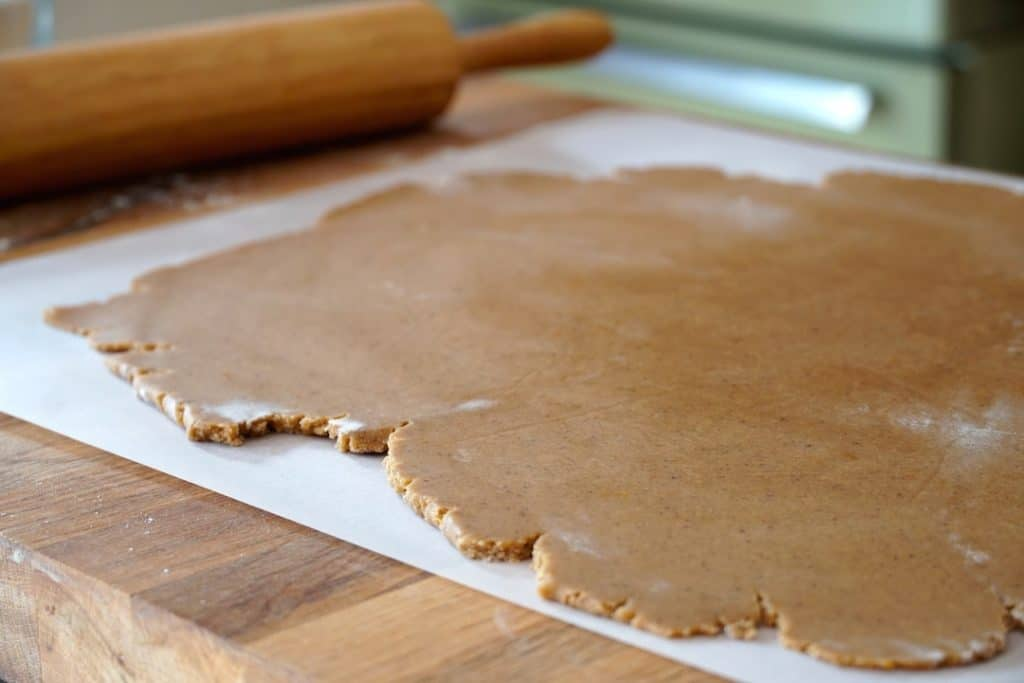 Gingerbread dough rolled out