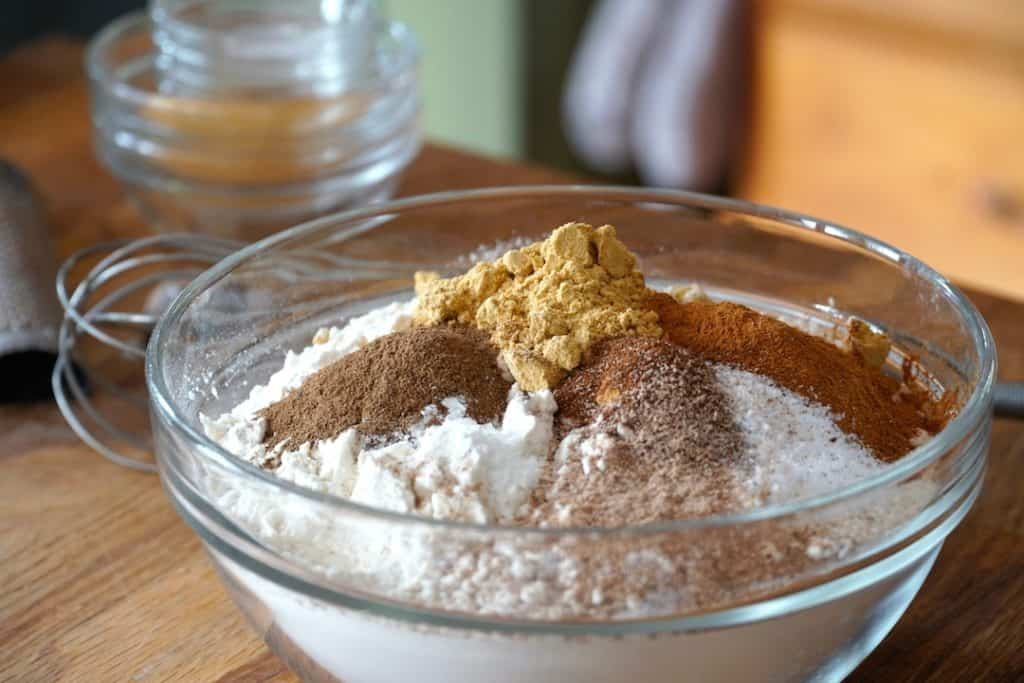 Dry ingredients and spices for the spiced cake recipe