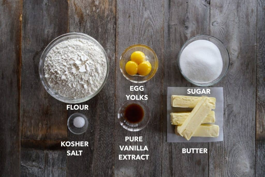 Ingredients for butter cookies