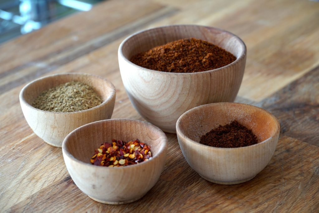 Spices used to flavour the beef tenderloin
