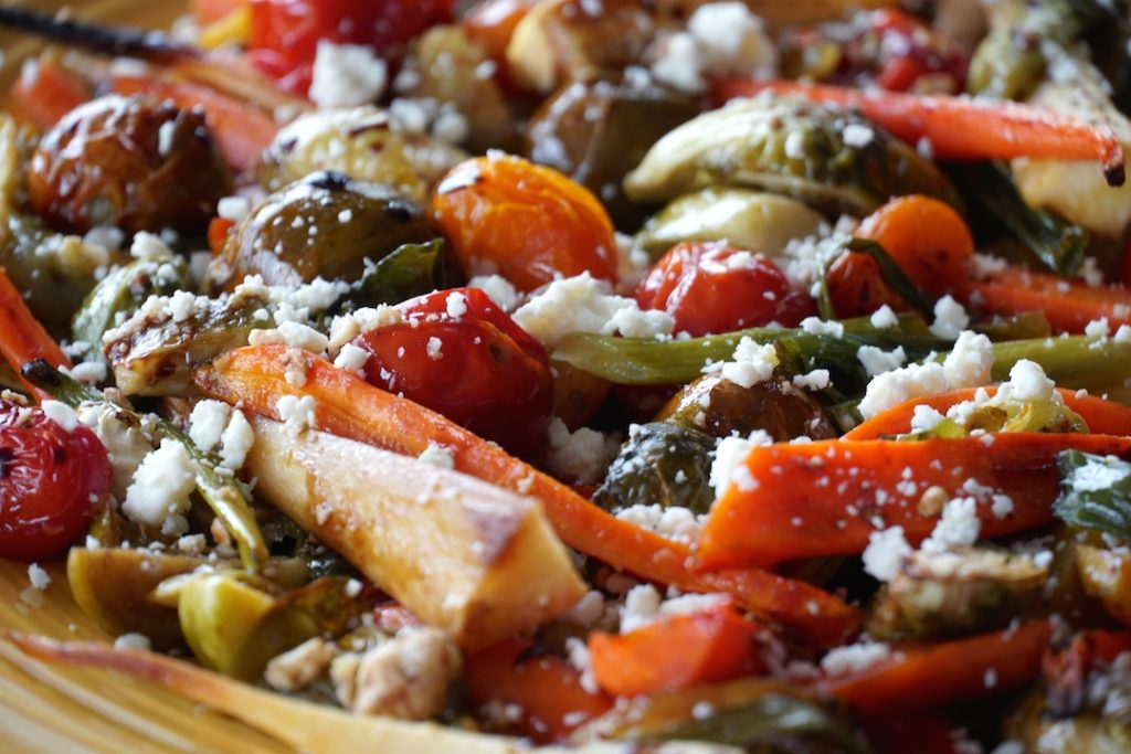 Oven-Roasted Vegetables Recipe with balsamic vinegar and feta cheese