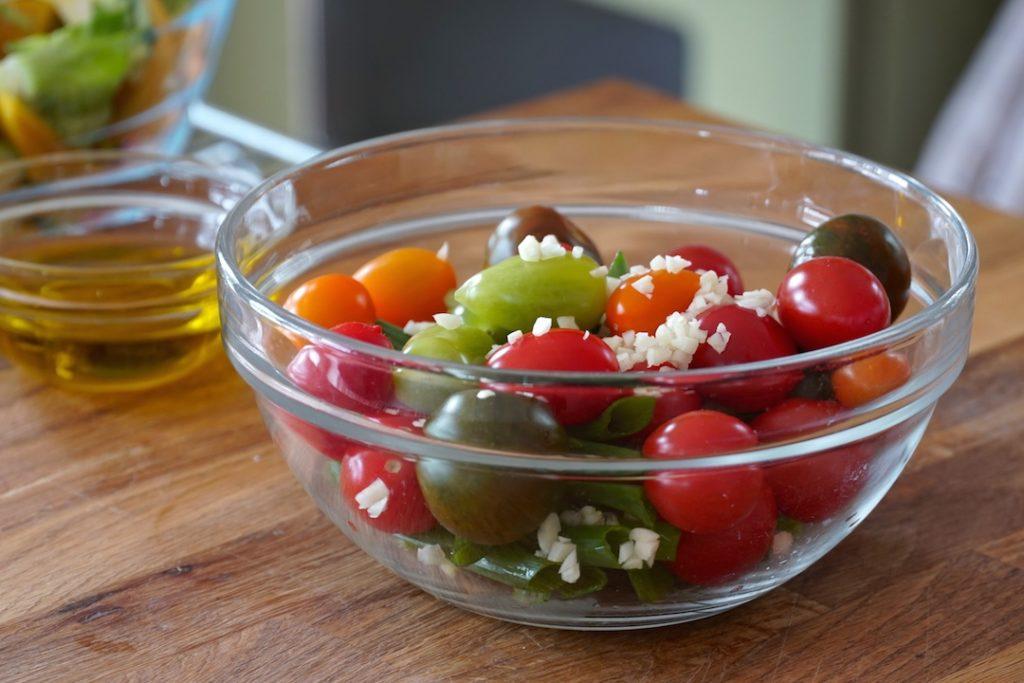 Tomatoes, scallions and garlic