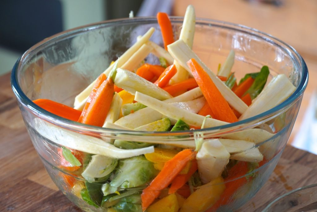 Carrots, parsnip, yellow beets and Brussels sprouts