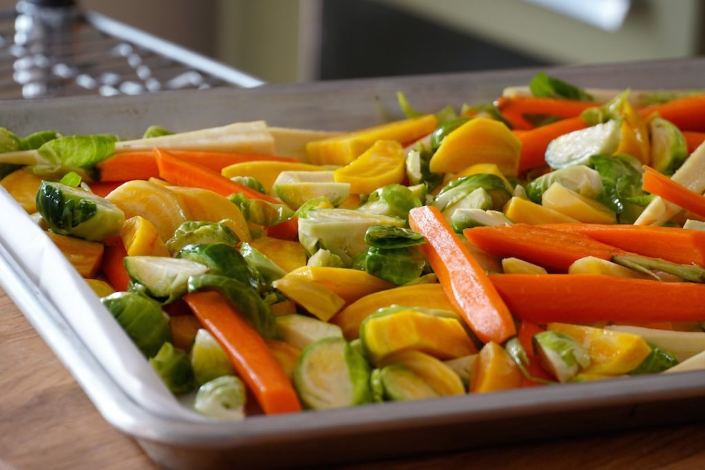 Veggies ready to be roasted