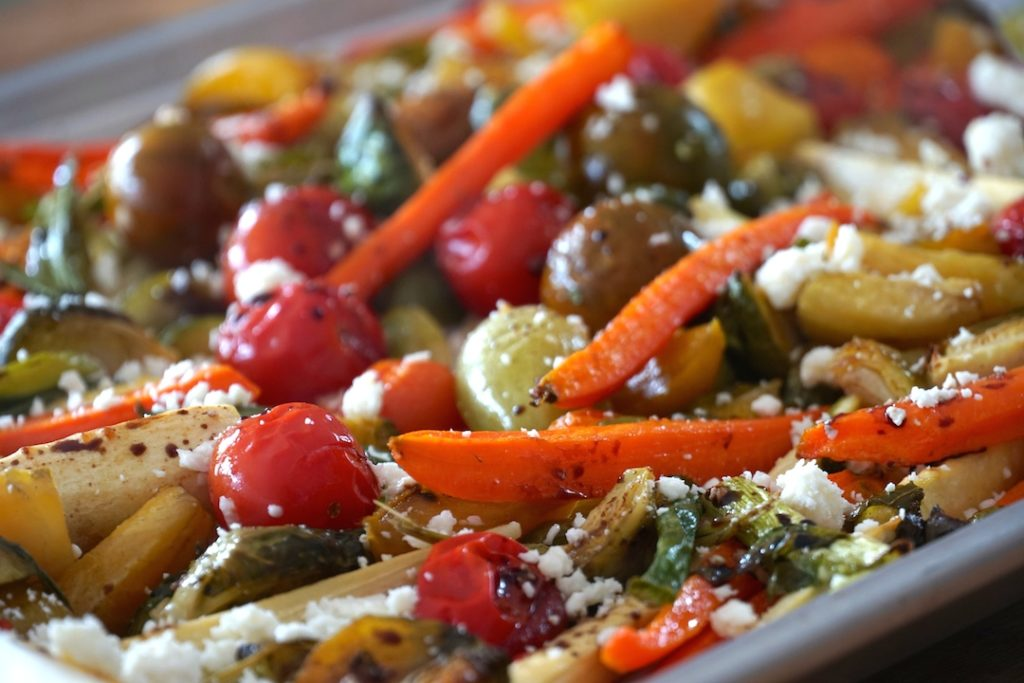 Finished veggies sprinkled with feta cheese