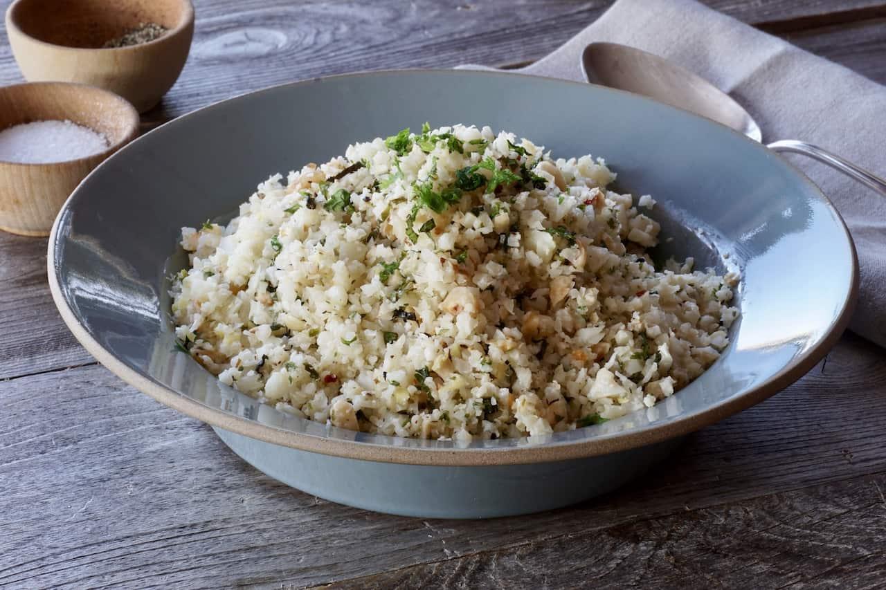 Lemon-Herb Riced Cauliflower