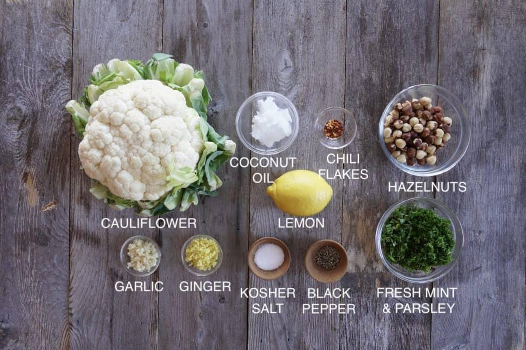 Ingredients for Lemon Herb Riced Cauliflower side dish