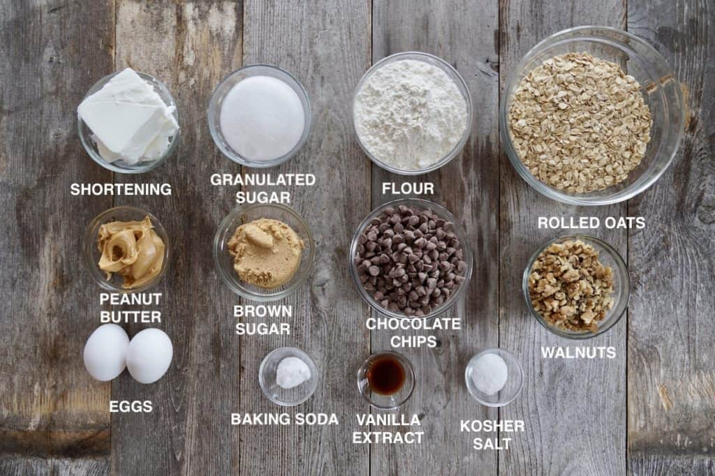 Ingredients for chocolate chip oatmeal cookies