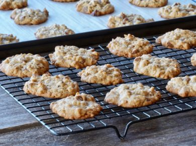 Freshly baked chocolate chip oatmeal cookies