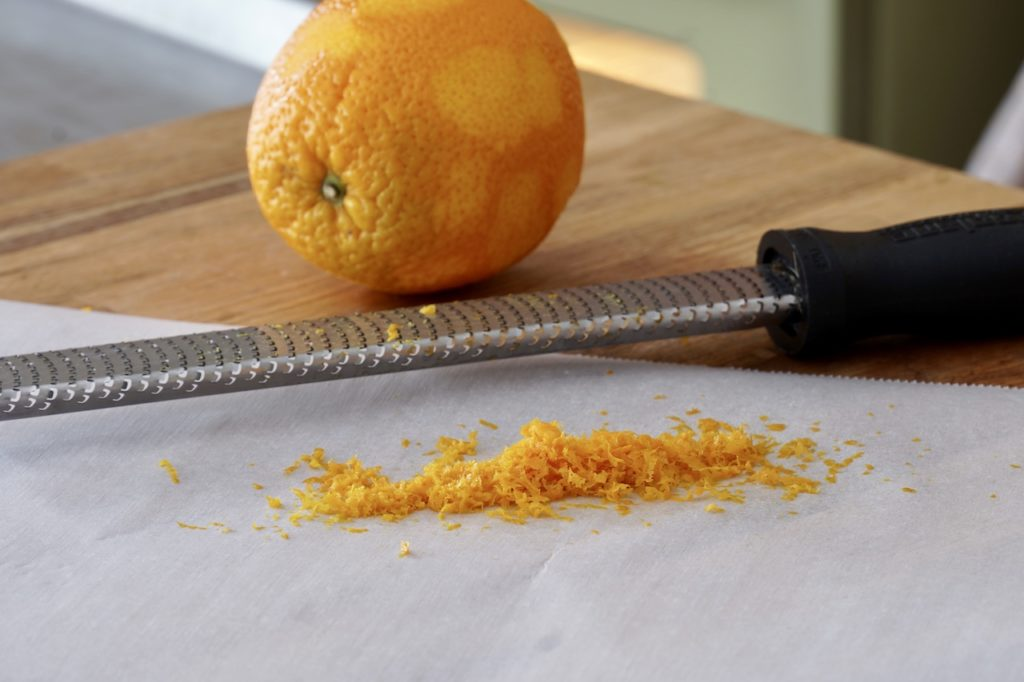 Orange zested for the recipe