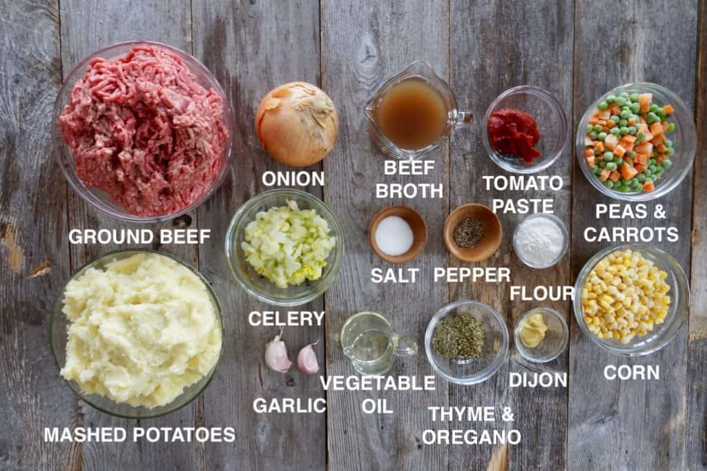 Ingredients for Easy Cottage Pie