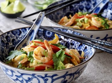 Bowls of steaming Thai Red Curry Shrimp