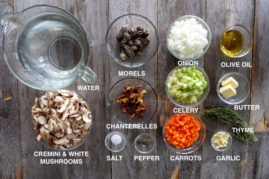 Ingredients for the mushroom broth