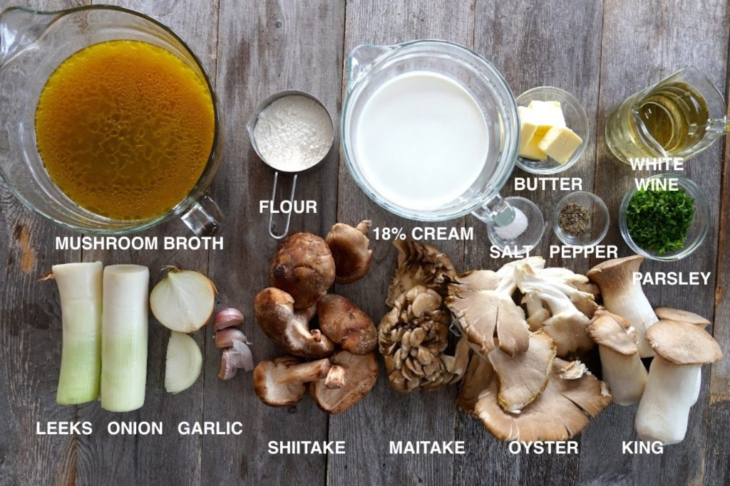 Ingredients for Wild Mushroom Soup