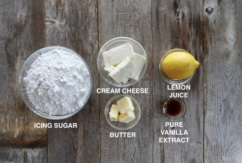 Ingredients for Lemon Cream Cheese Icing