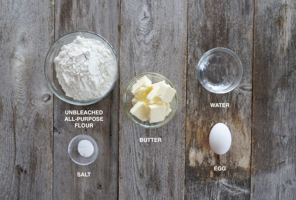 Ingredients for quiche dough