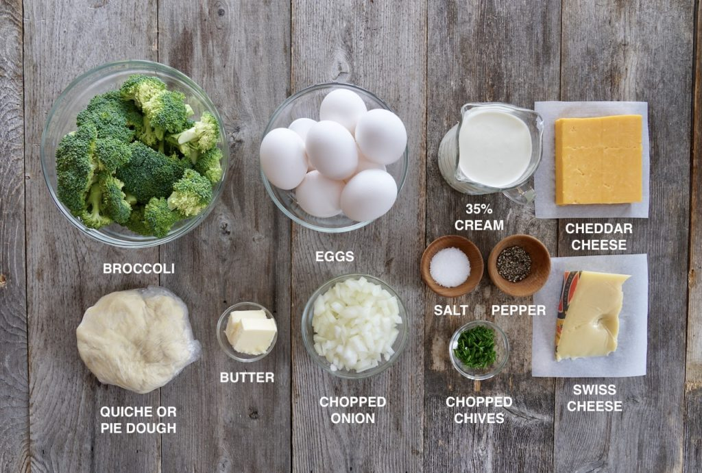 Ingredients for Two-Cheese Broccoli Quiche