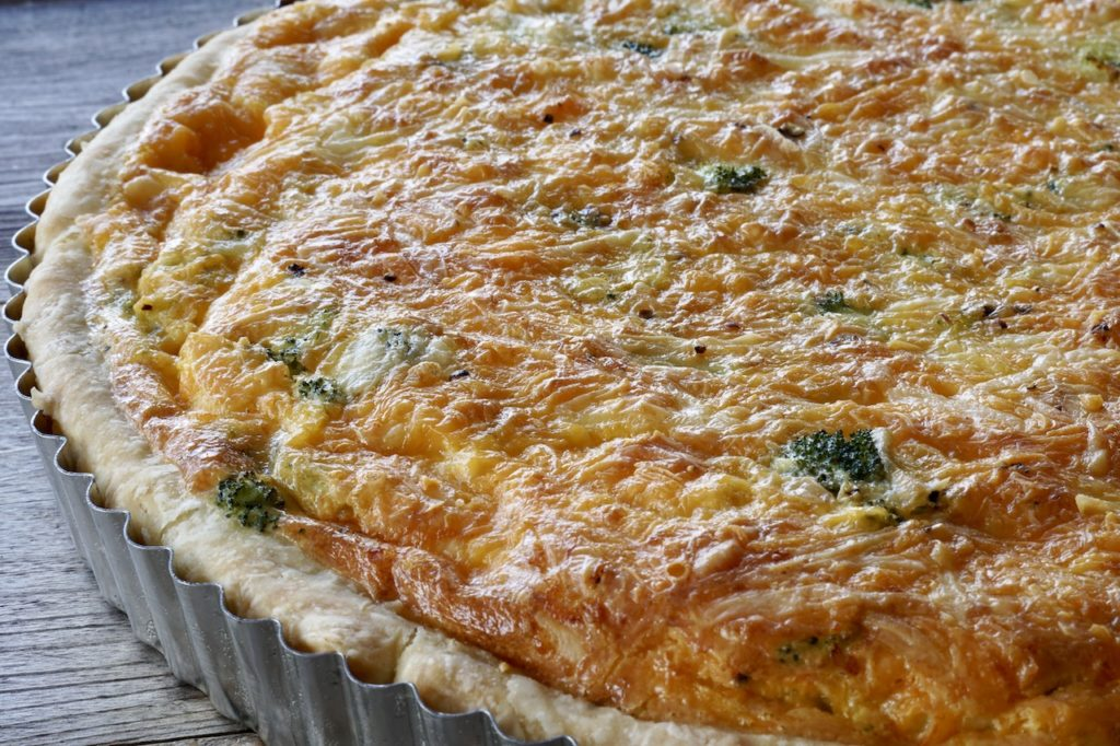 Two-Cheese Broccoli Quiche fresh out of the oven