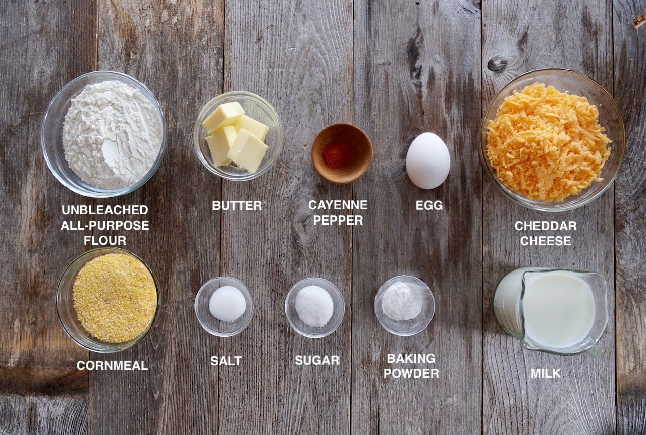 Ingredients for cheddar cornmeal muffins