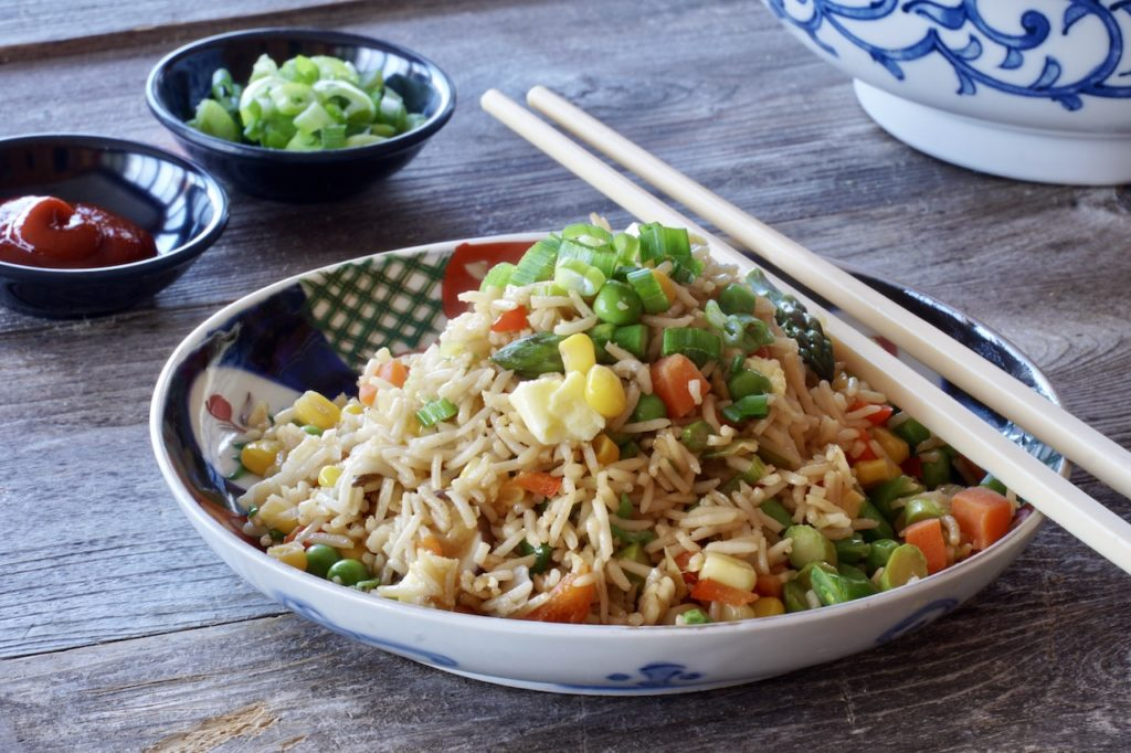 Fun Fried Rice served on an attractive plate