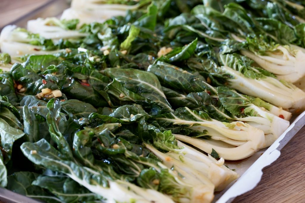 Bok Choy on the baking sheet