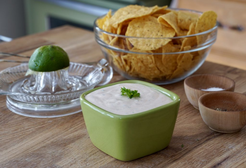 Creamy taco sauce served as a vegetable or chip dip.
