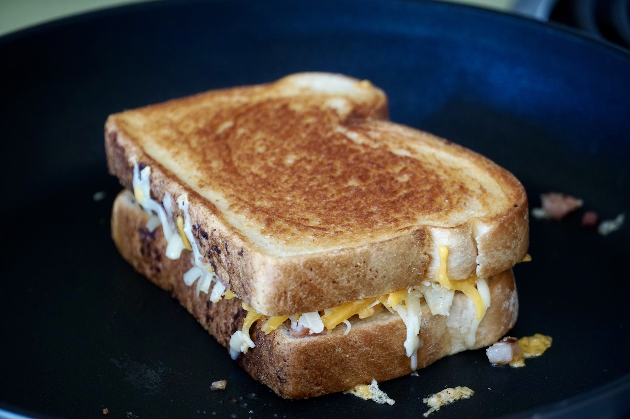 Best Grilled Cheese in the warm skillet.