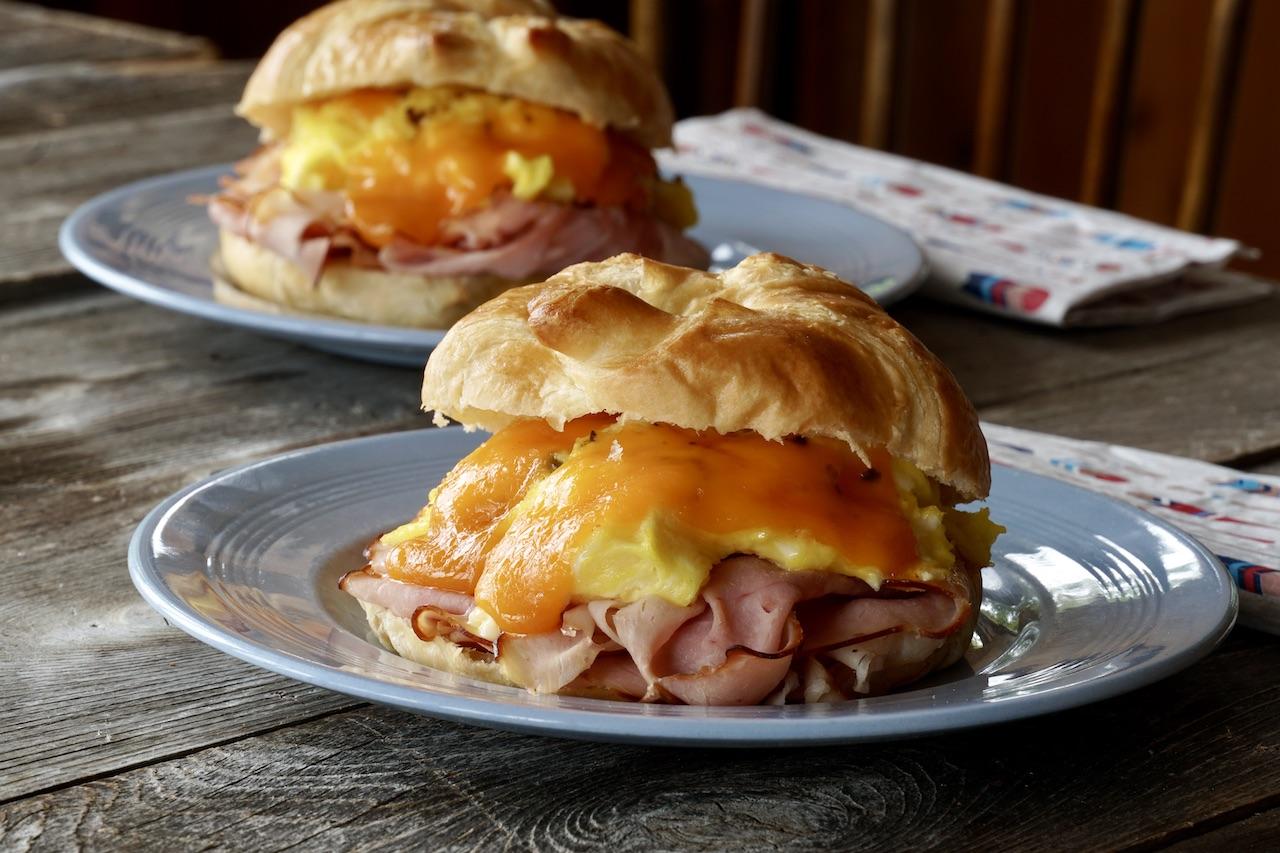 Ham and Cheese Breakfast Sandwich