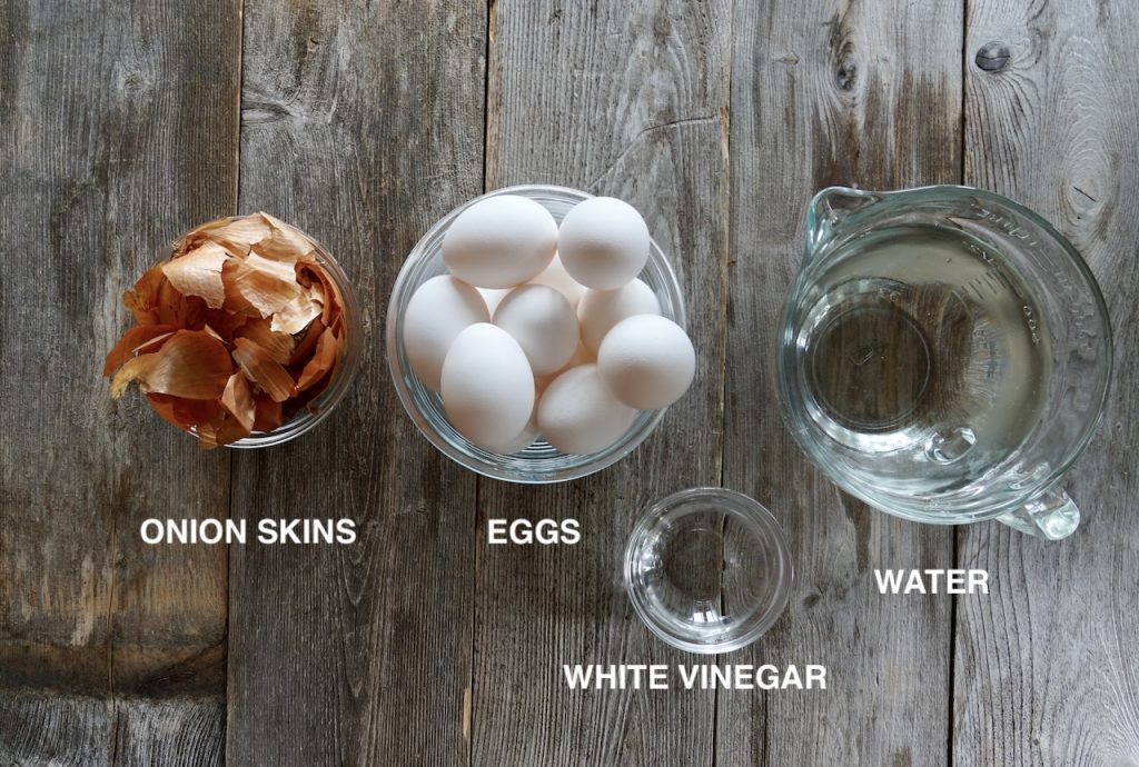 Ingredients for eggs coloured with onion skins