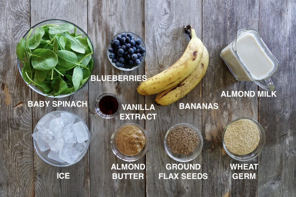 Ingredients for Spinach Blueberry and Banana Smoothie