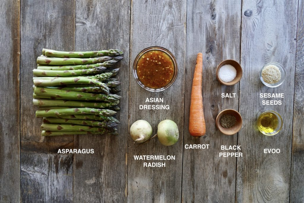 Ingredients for Roasted Asparagus with Watermelon Radish
