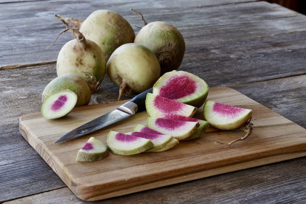 Watermelon radish USED IN ROASTED ASPARAGUS WITH WATERMELON RADISH