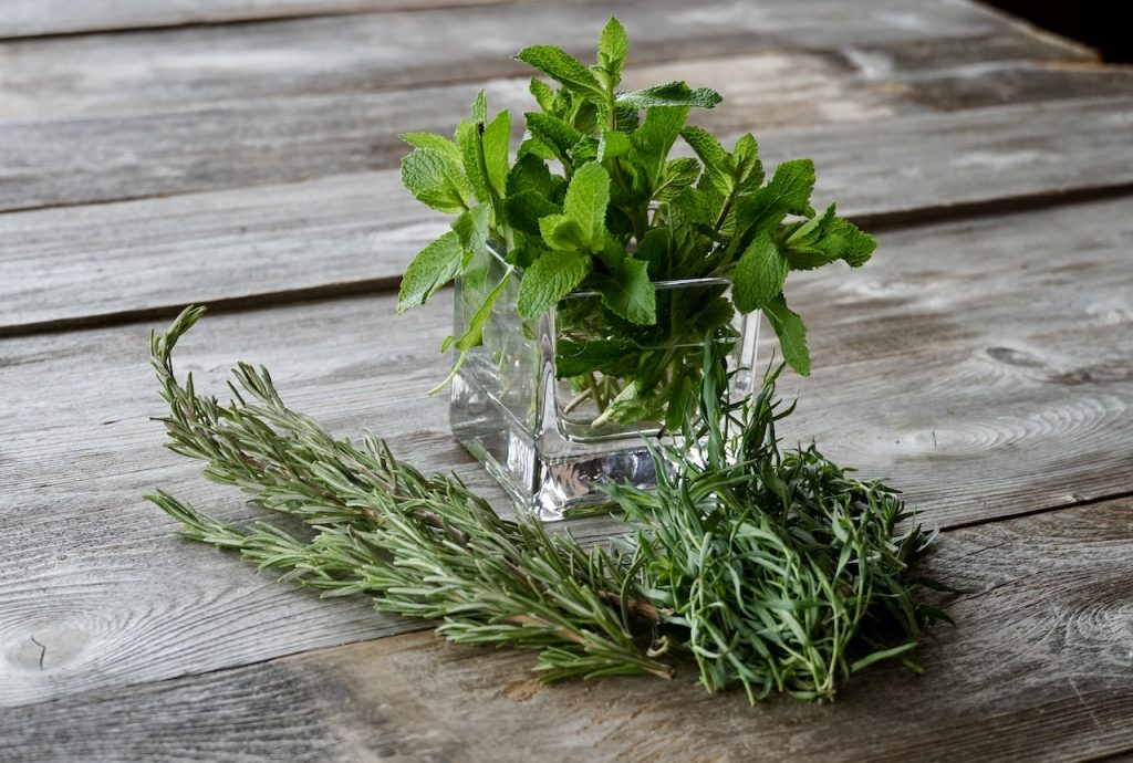 Assorted fresh herbs for the dressing