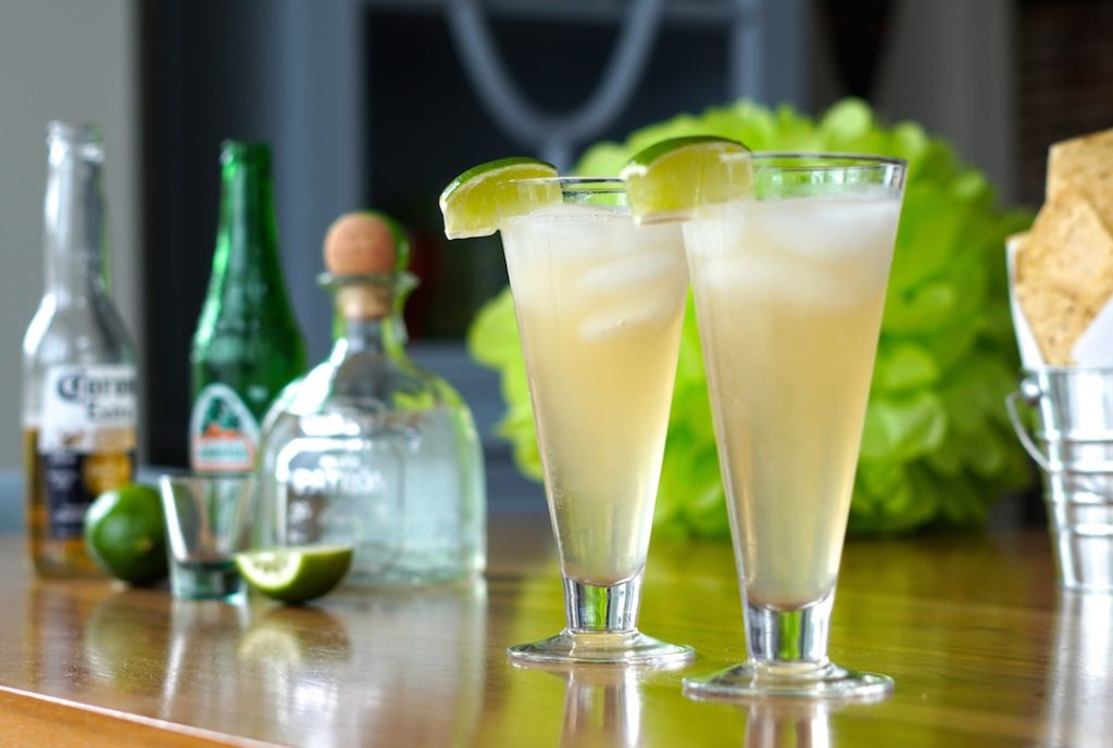 A refreshing cocktail served with the tacos