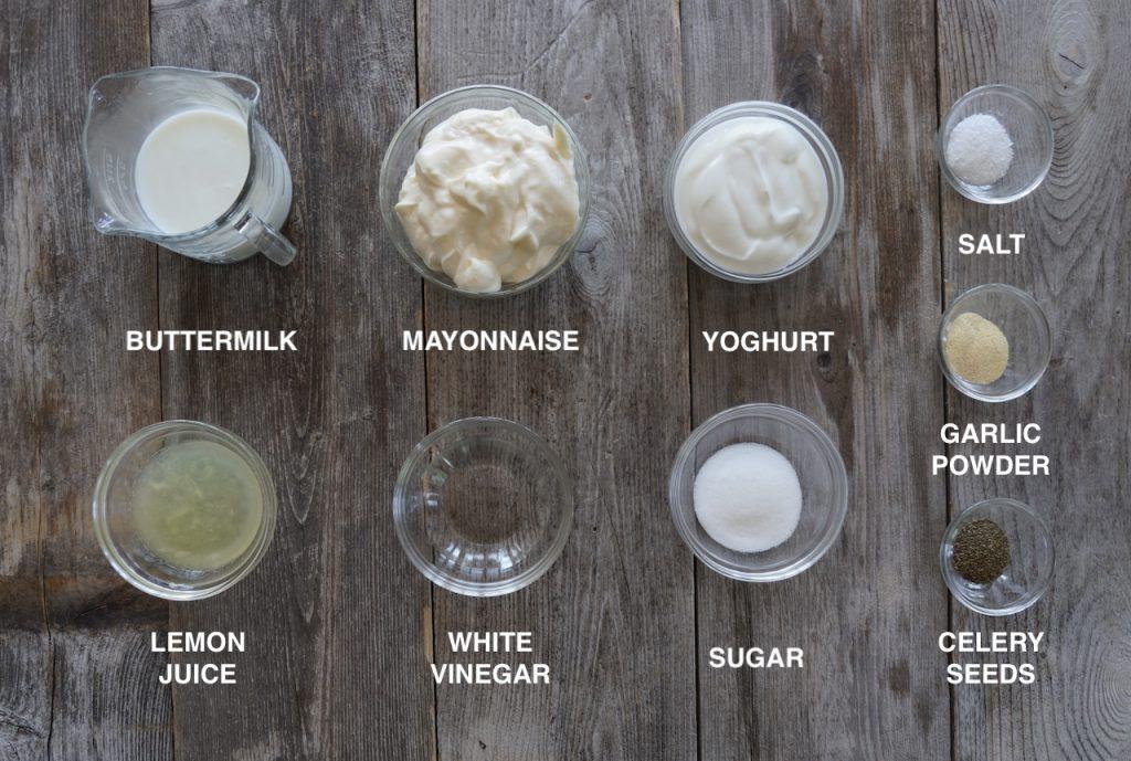 Ingredients for the Coleslaw Salad Dressing